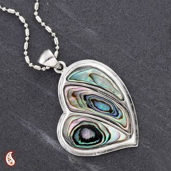Silver Heart Pendant with Natural Shell