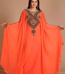 Buy Orange georgette embroidered abaya eid-abaya online