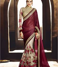 Buy Brown embroidered georgette saree With Blouse black-friday-deal-sale online