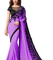 Buy Purple  embroidered georgette saree With Blouse wedding-saree online