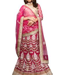 Buy Pink net embroidered unstitched lehenga choli lehenga-choli online