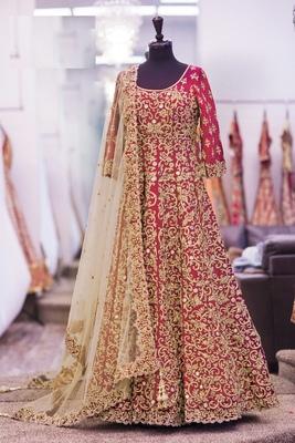 red art silk embroidered semi stitiched salwar with dupatta
