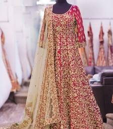 Buy red art silk embroidered semi stitiched salwar with dupatta anarkali-salwar-kameez online