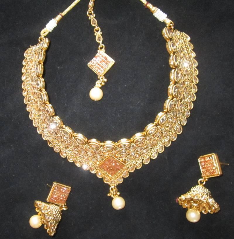 Buy CHOKER NECKLACE SET POLKI GOLD plated TIKA JHUMKA earrings Online