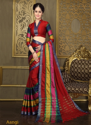 Multicolour printed cotton saree With Blouse