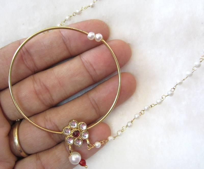 Buy Big hoop NOSE RING pearl string BRIDAL press NATH Gold plated ...