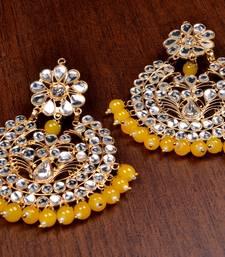 Buy Yellow Beads and Kundan Embellished Dangler Earrings danglers-drop online