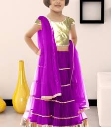 Buy Kids wear New Designer purple color soft net fabric kids lehenga choli for  #garba #speical kids-lehenga-choli online