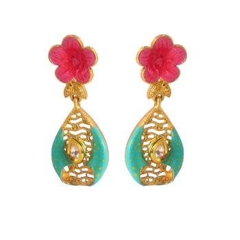 Women's Fashionable Kundan Polki Copper Earrings_Turquoise