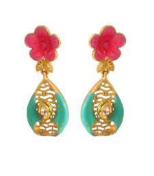 Buy Women's Fashionable Kundan Polki Copper Earrings_Turquoise danglers-drop online