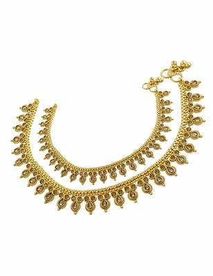 Golden Beige Polki Stones Payal Anklet Jewellery for Women - Orniza