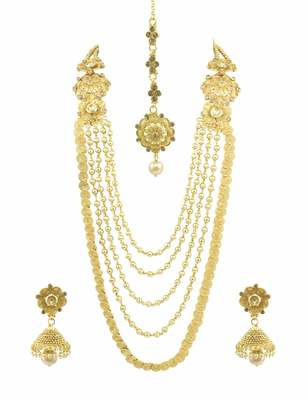Long Golden Beige Polki Stones Necklace Set with Maang Tika Jewellery for Women - Orniza