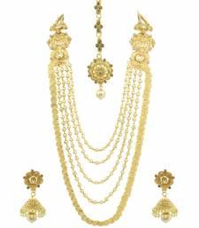 Buy Long Golden Beige Polki Stones Necklace Set with Maang Tika Jewellery for Women - Orniza necklace-set online