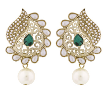 Paisley Filigree Antique Rhodium Pearl Green Earring for Women