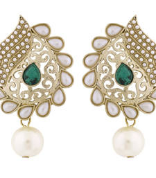 Buy Paisley Filigree Antique Rhodium Pearl Green Earring for Women stud online