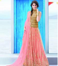 Buy Peach net and  glitter embroidered unstithched lehenga choli lehenga-choli online