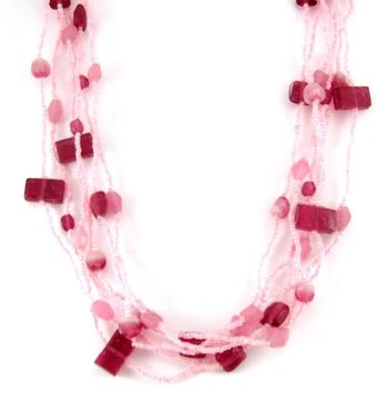pink beaded  layered necklace