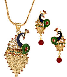 Buy Filigree Peacock Gold Plated Meenakari Pendant Chain Earring Set for Women Pendant online