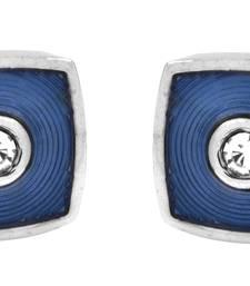 Buy Curvy Square CZ American Diamond Navy Blue Rhodium Plated Brass Cufflink Pair for Men cufflink online
