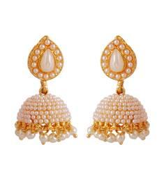 Buy Designer Jadau Pearl Polki Work Copper Tokri Jhumki jhumka online