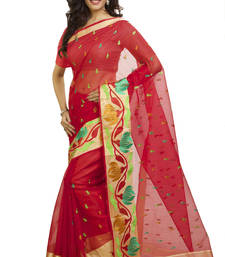 Buy red embroidered cotton saree With Blouse kota-silk-saree online