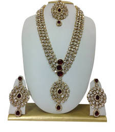 Buy MAROON HAARAM NECKLACE SET WITH MAANG TIKKA bridal-set online