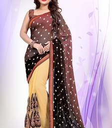 Buy brown embroidered georgette saree With Blouse half-saree online
