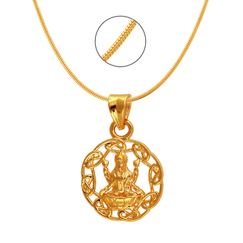 Laxmi Circle Gold Plated Religious God Pendant with Chain for Men & Women