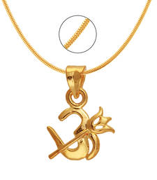 Buy Om Trishul Gold Plated Religious God Pendant with Chain for Men & Women Pendant online