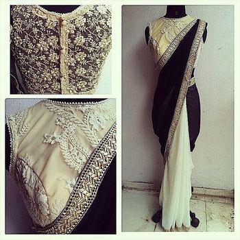 BLACK plain faux lycra saree With Blouse