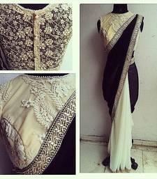 Buy BLACK plain faux lycra saree With Blouse party-wear-saree online