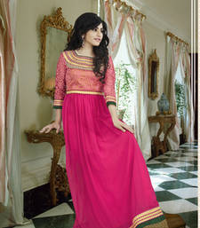 Buy Pink georgette embroidered party wear gown readymade-suit online
