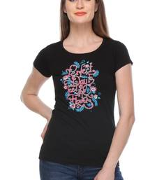 Buy Black printed Cotton tops top online
