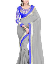 Buy Georgette saree by fabkaz (Grey) chiffon-saree online