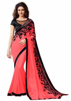 chiffon saree by fabkaz (Pink)