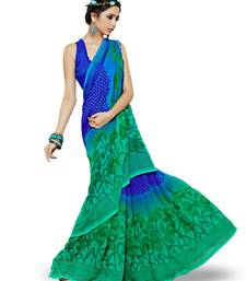 Buy BLUE AND GREEN printed georgette saree With Blouse printed-saree online