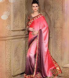 Buy Fushia plain georgette saree With Blouse satin-saree online