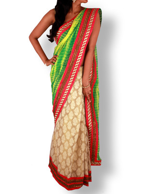 yellow brasso Tissue saree With Blouse