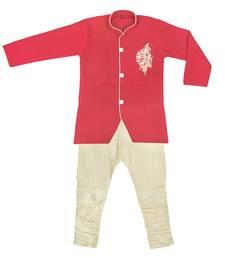 Buy Red handworked sherwani breeches set kids-top online