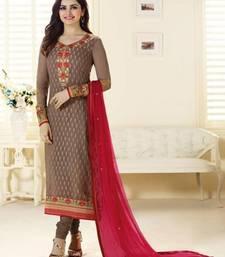 Buy Multicolor brocade embroidered semi stitched salwar with dupatta party-wear-salwar-kameez online