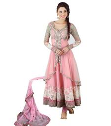 Buy Pink net unstitched salwar with dupatta anarkali-salwar-kameez online