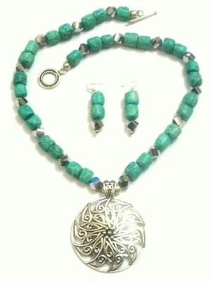 Turquoise turquoise beaded jewellery necklace sets