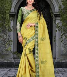 Buy Green embroidered bhagalpuri saree With Blouse bhagalpuri-silk-saree online