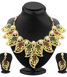 Buy Intricately gold plated ad necklace set for women bridal-set online
