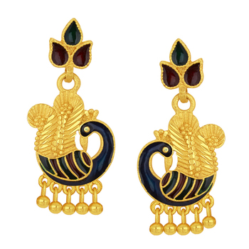 Glimmery Peacock Gold Plated Earring For Women