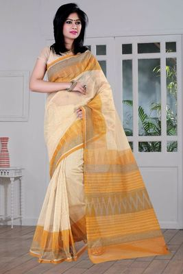 Cream printed Supernet saree With Blouse