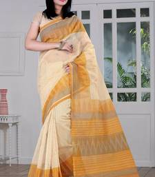 Buy Cream printed Supernet saree With Blouse supernet-saree online