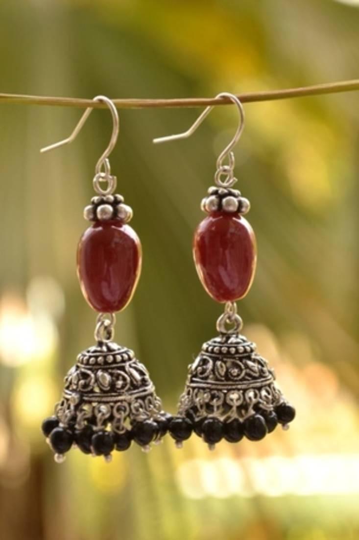Buy Trendy Oxisidised Silver Jhumka Earrings Online