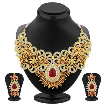 Designer Gold Plated AD Necklace Set For Women