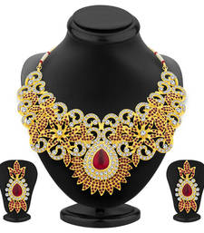 Buy Designer Gold Plated AD Necklace Set For Women necklace-set online